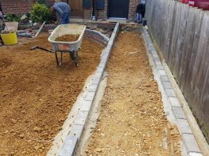 Brick laying driveway