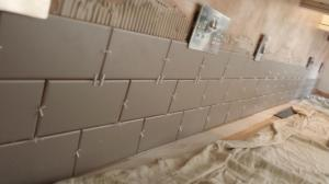 Kitchen splashback gray brick