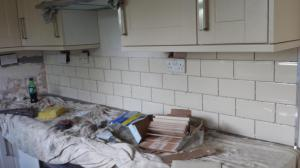 Kitchen splashback white brick
