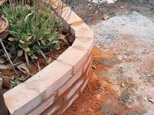 Patio brick wall